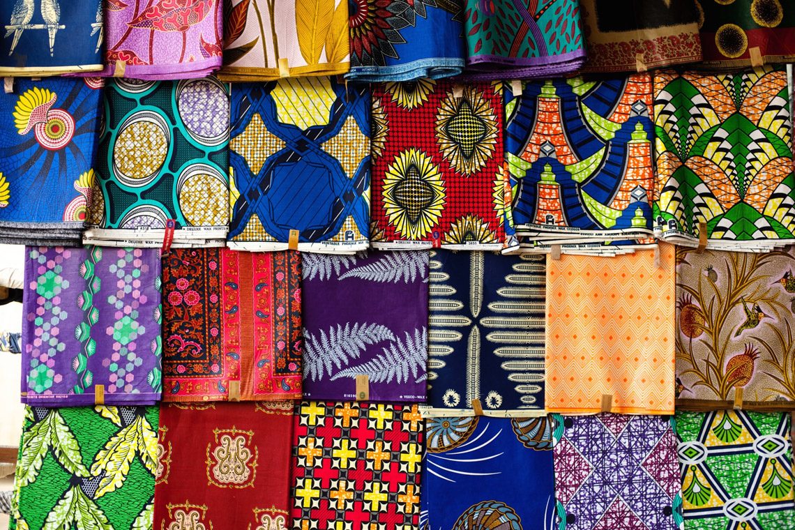 Wax Prints at a market in Rwanda