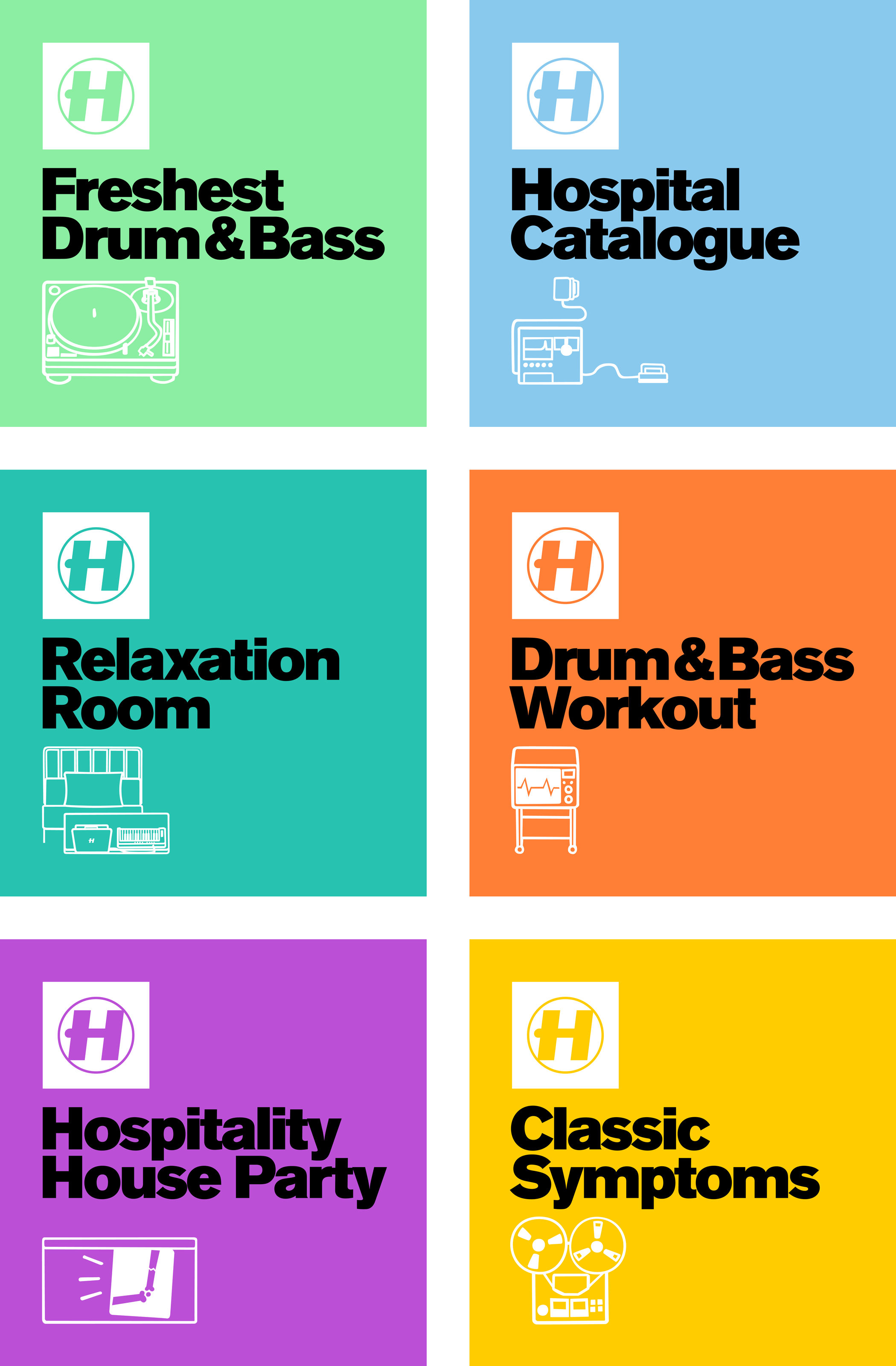 A series of six thematic cover designs for Hospital Records' Spotify playlists