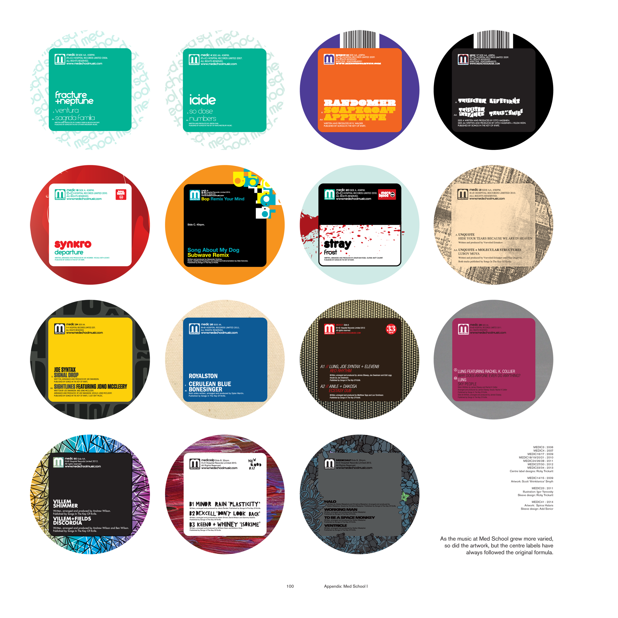 Almost every Med School Music centre label followed the same rounded-rectangle design system. This is a page from Hospital's NHS300 compendium demonstrating it!