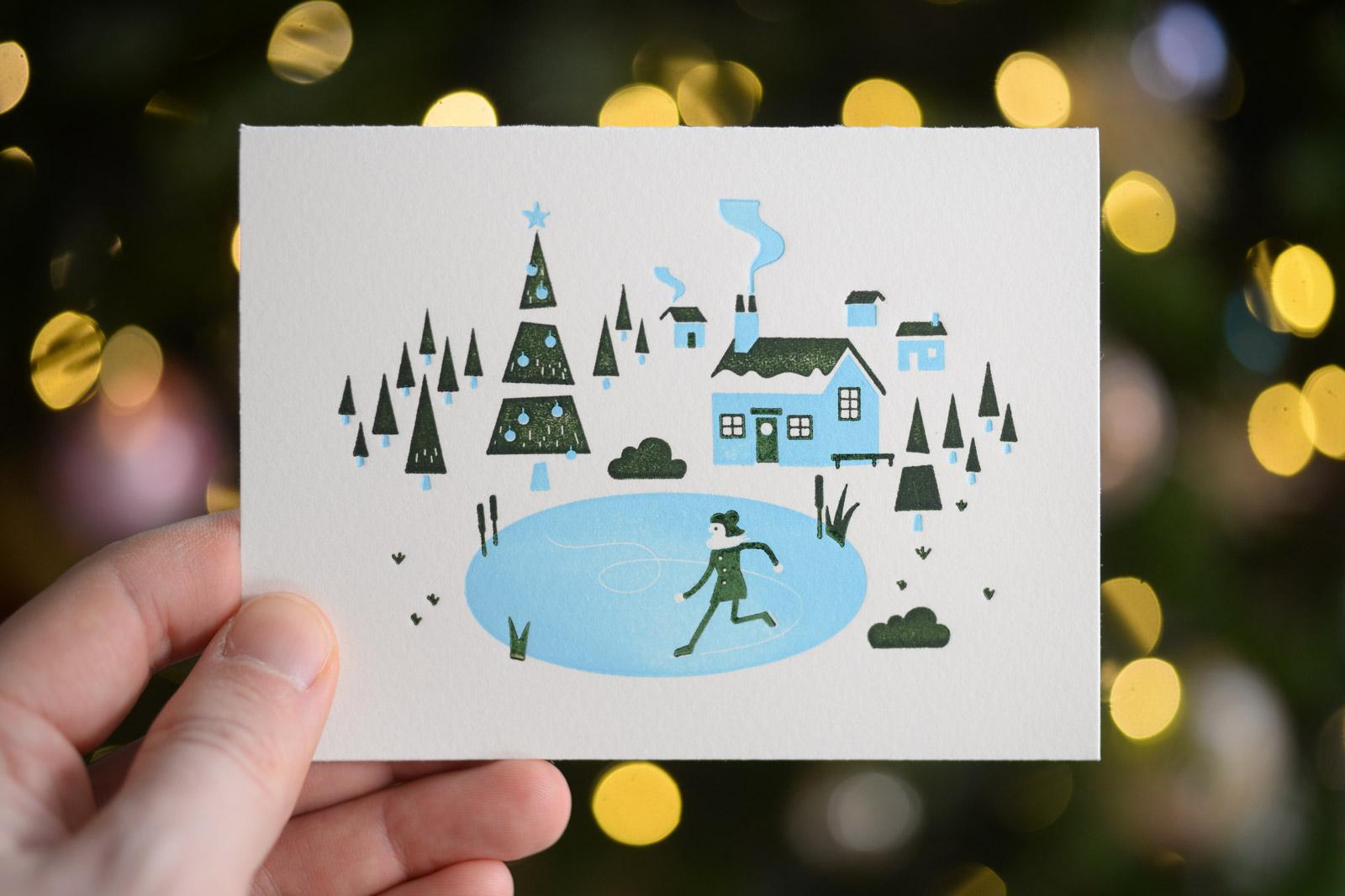 Letterpressed ice skater Christmas card
